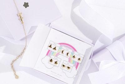 'Forever Sticker Earrings' Reversible Stud Set - Gold