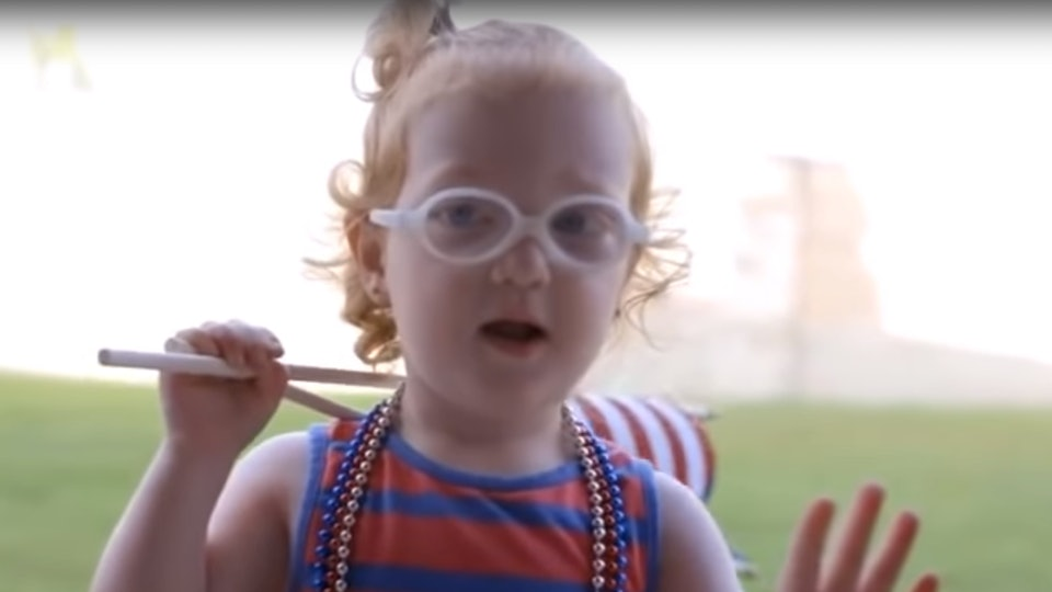outdaughtered s hazel busby eating marshmallows with her dad is just