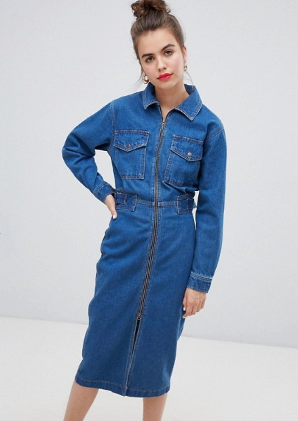 ASOS DESIGN Denim Utility Dress In Midwash Blue