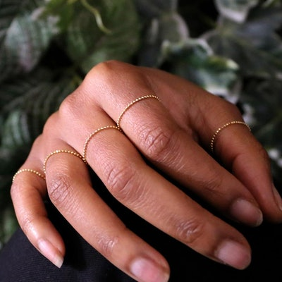Automic Gold Bead Chain Ring