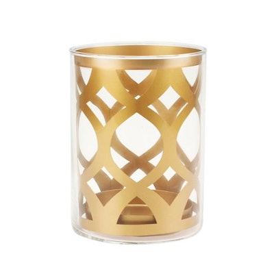 Better Homes and Gardens Medium Gold Glass and Metal Ogee Pillar Holder