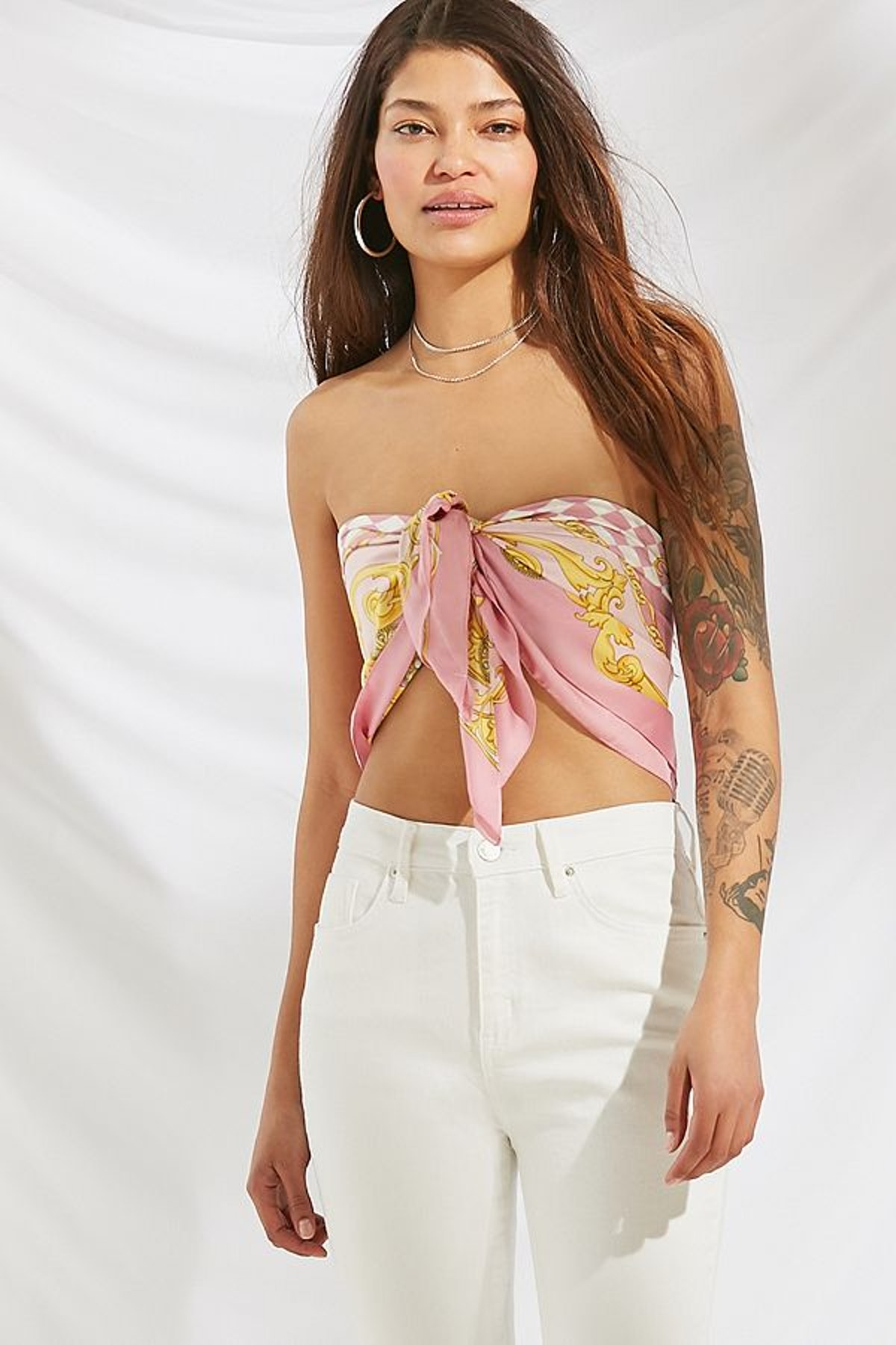 Urban Renewal Remade Tie Scarf Tube Top