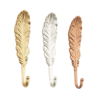 Iron Feather Wall Hooks, Multicolor