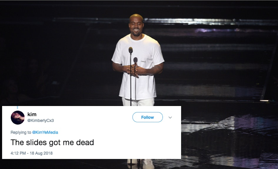 these tweets about kanye west wearing yeezy slides to a wedding are