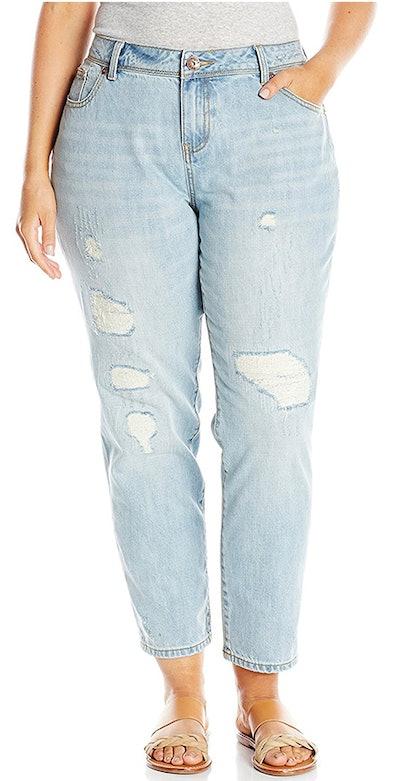 MYNT, 1972 Women's Plus Size Destructed Boyfriend Cropped Jean