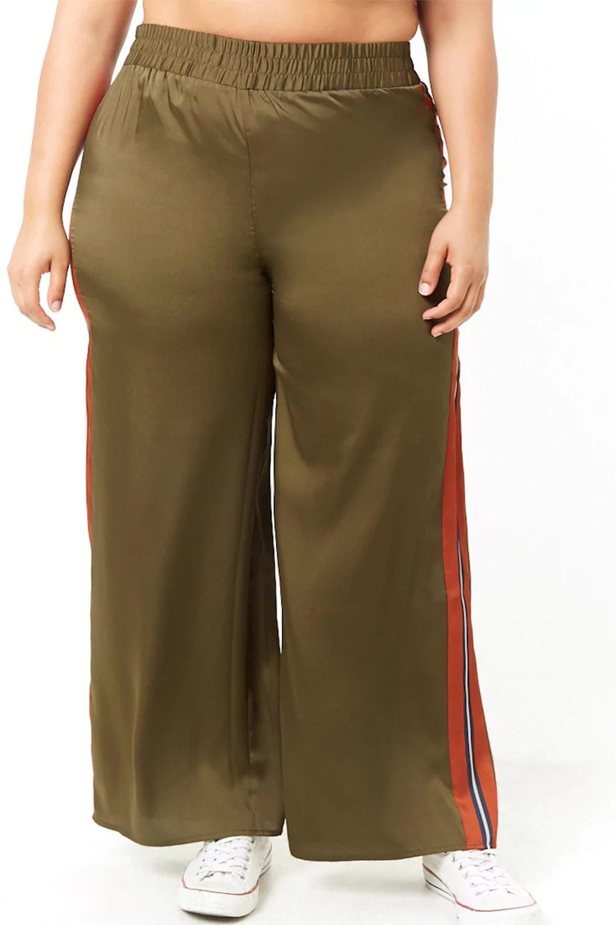 Plus Size Satin Wide-Leg Pants