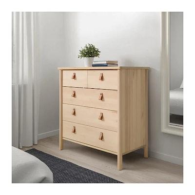 BJORKSNAS 5-drawer chest, birch