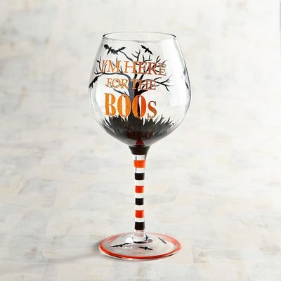 Here For The Boos Halloween Wine Glass