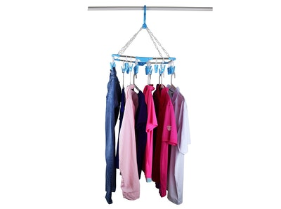 Laundry Science Ultimate Clothesline Hanging Laundry Drying Rack with 26 Clips
