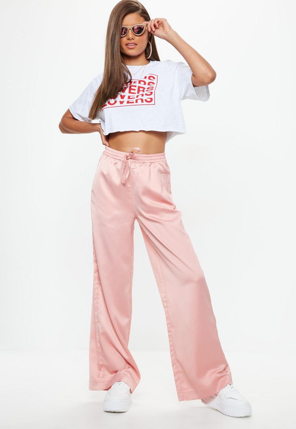 pink satin wide leg tie waist pants