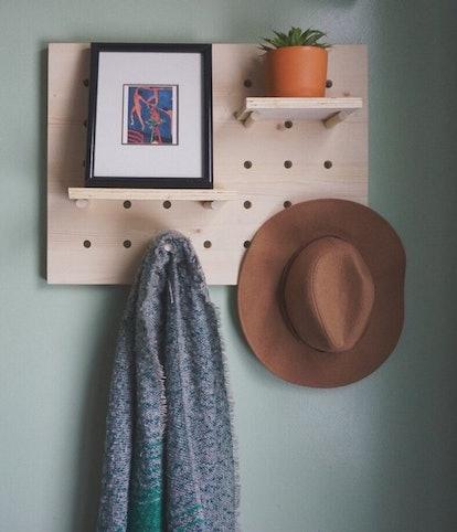 Pine Pegboard Wall Shelf