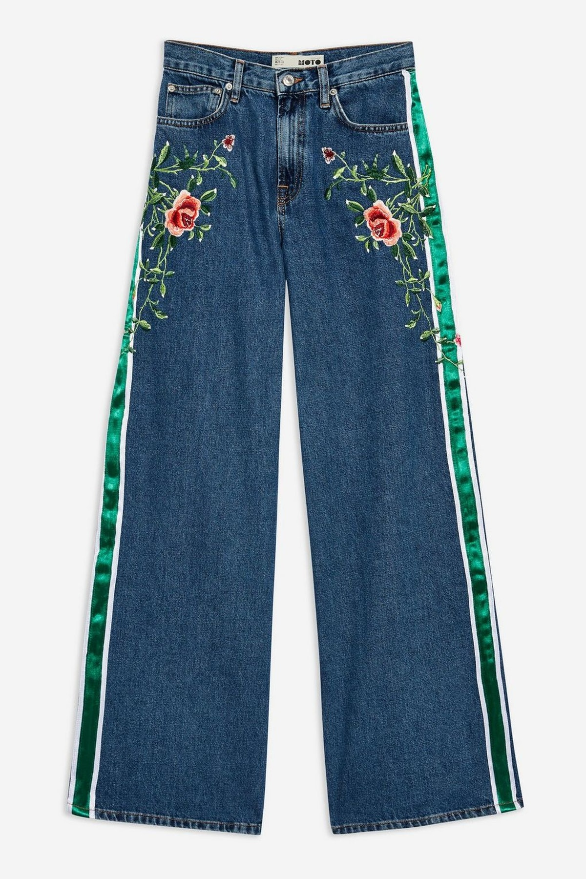 MOTO Rose Side Stripe Wide Leg Jeans