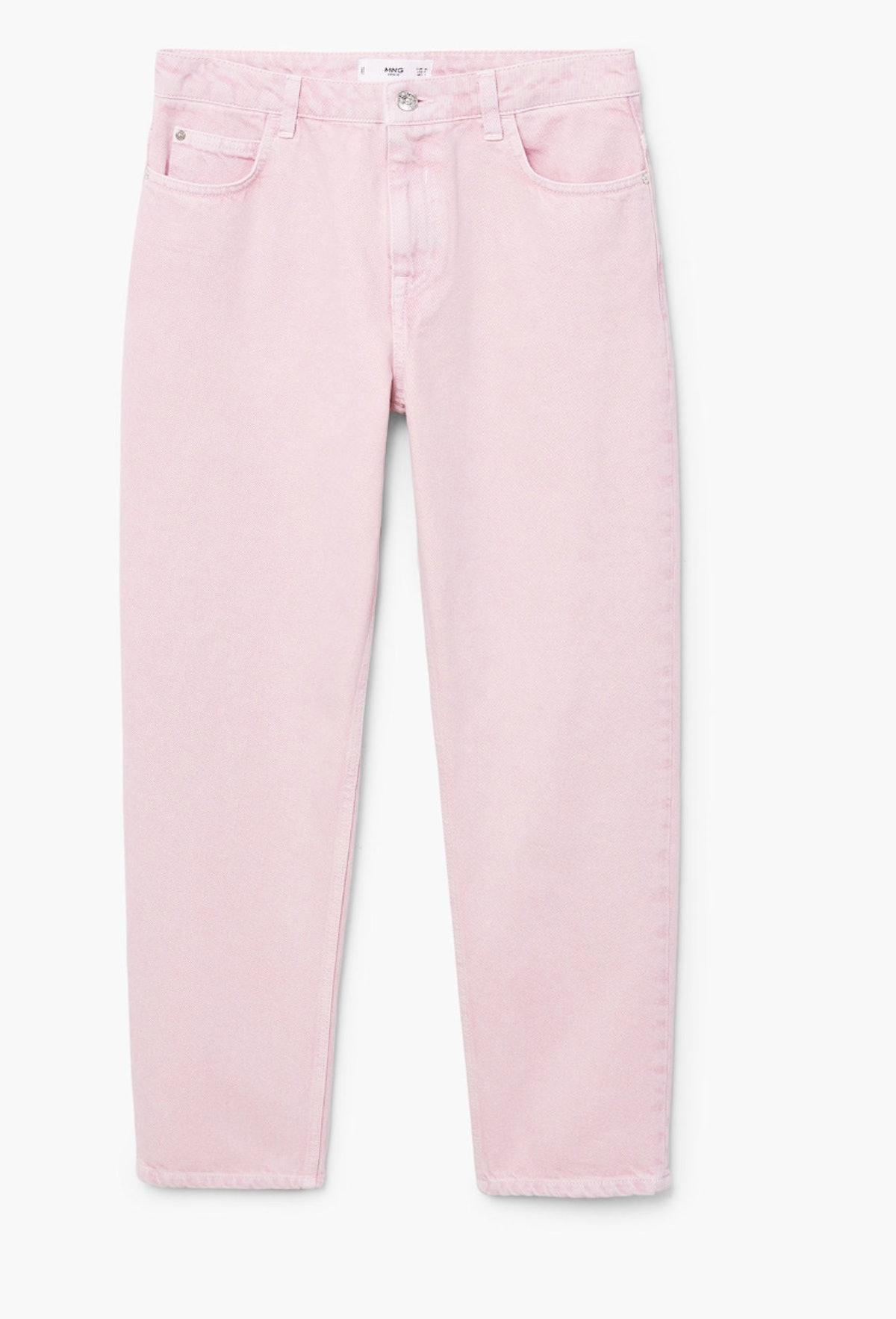 Pink Denim Straight Jeans