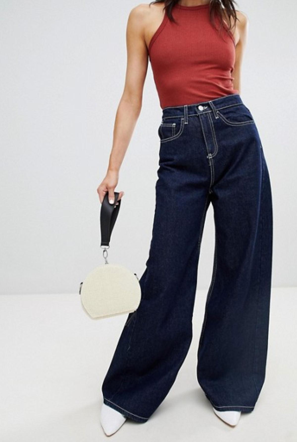 Stradivarius Wide Leg Jean With Contrast Stitch