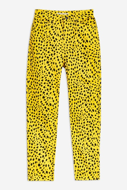 Yellow Leopard Print Mom Jeans