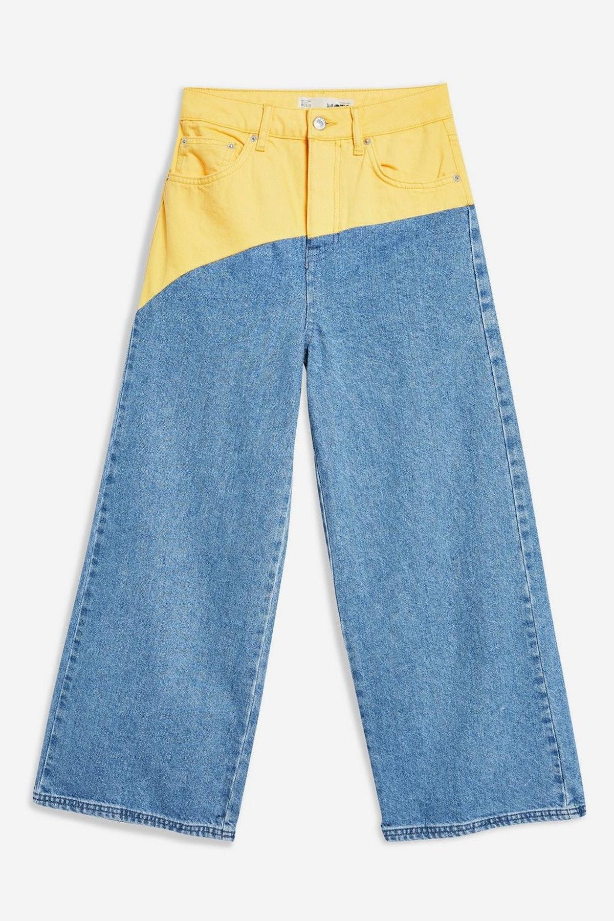 MOTO Colour Block Cropped Wide Leg Jeans