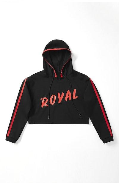 Royal Duchess Cropped Hoodie in Black