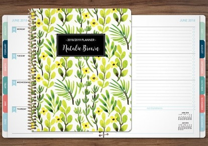 Green Yellow Watercolor Leaves Planner