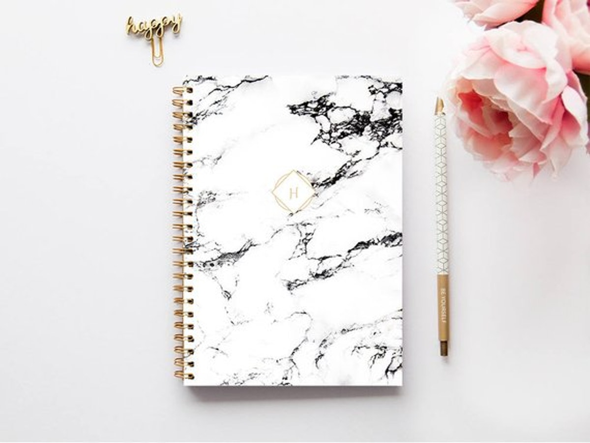 White Marble A5 Personalized Planner