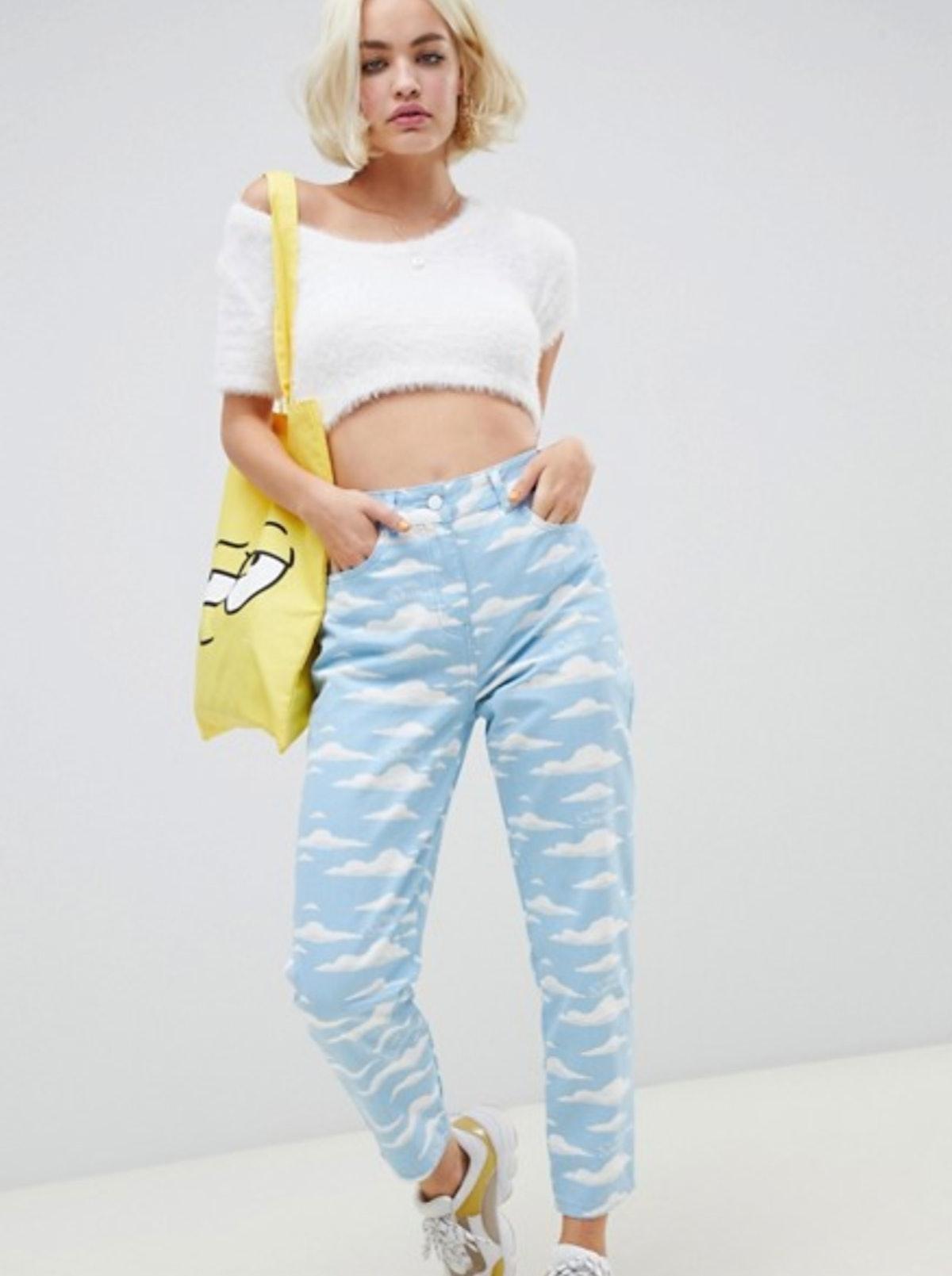 'The Simpsons' x ASOS DESIGN mom jeans in cloud print