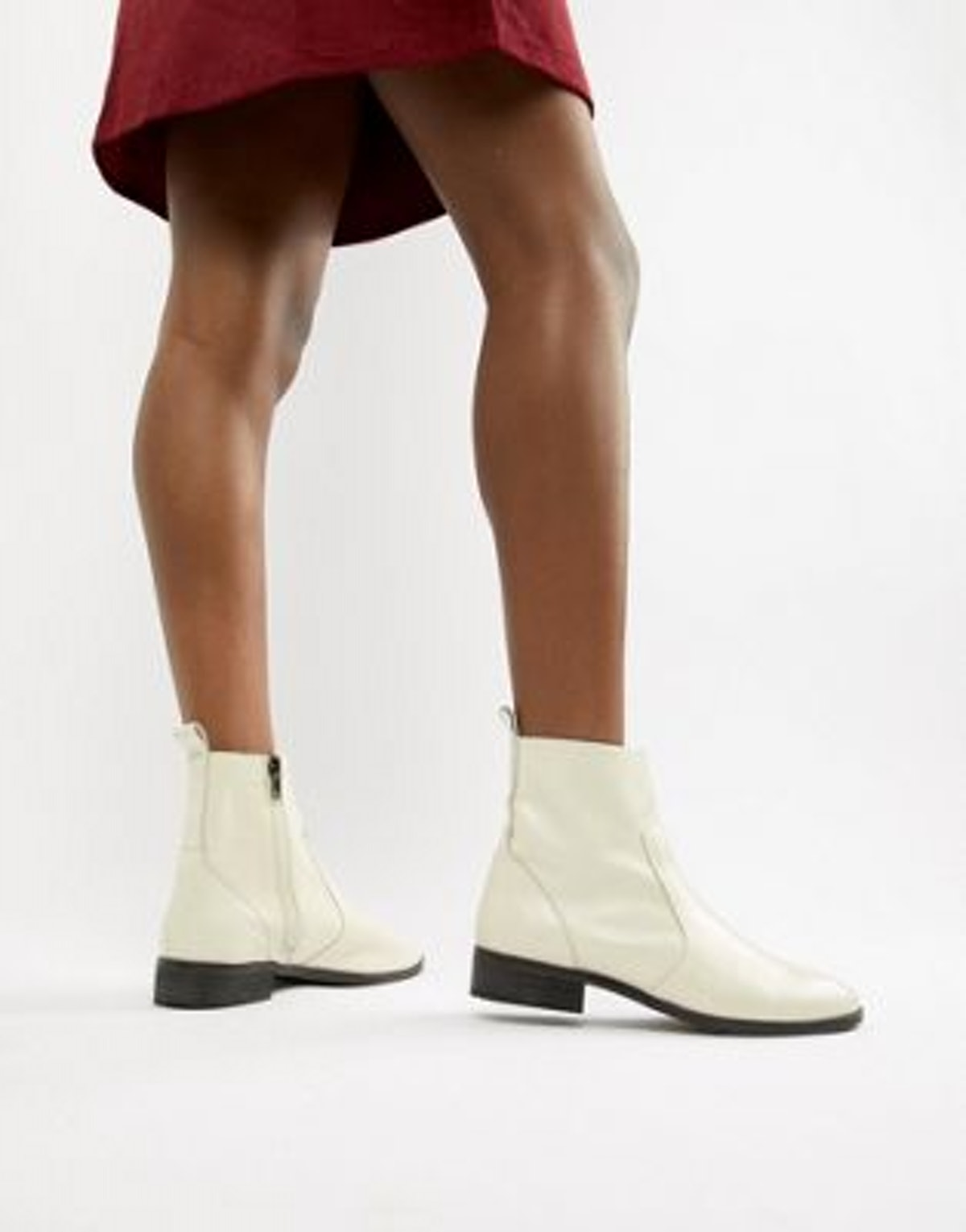 Office Ashleigh white leather calf boots