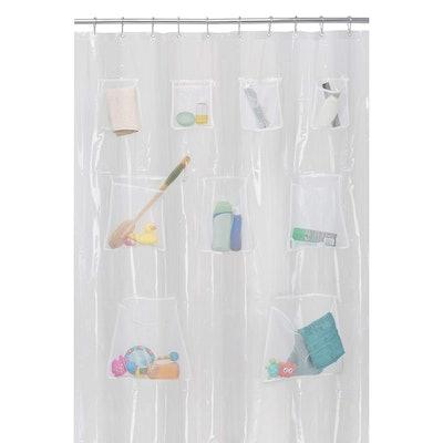 MAYTEX Quick Dry Mesh Pockets PEVA Shower Curtain or Liner, Bath/Shower Organizer, Clear