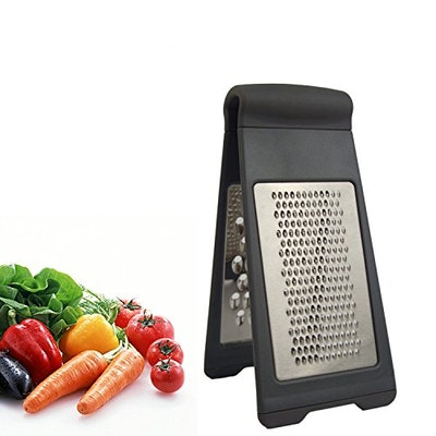 HappierChef Stainless Steel Grater Zester - Two-Fold Collapsible Rust Resistant Sharp Blade Shredder