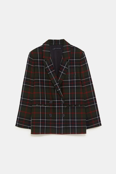 Checkered Double Breasted Blazer