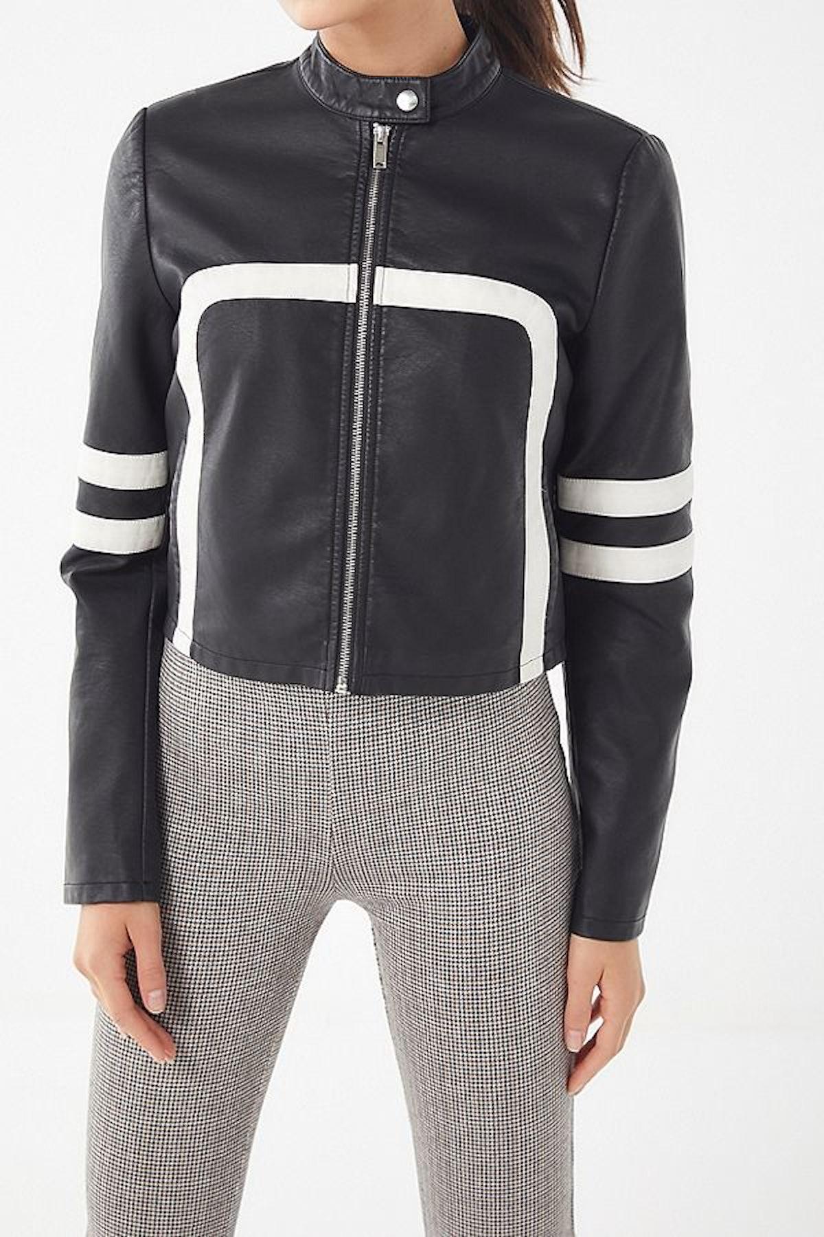 UO Faux Leather Colorblock Moto Jacket