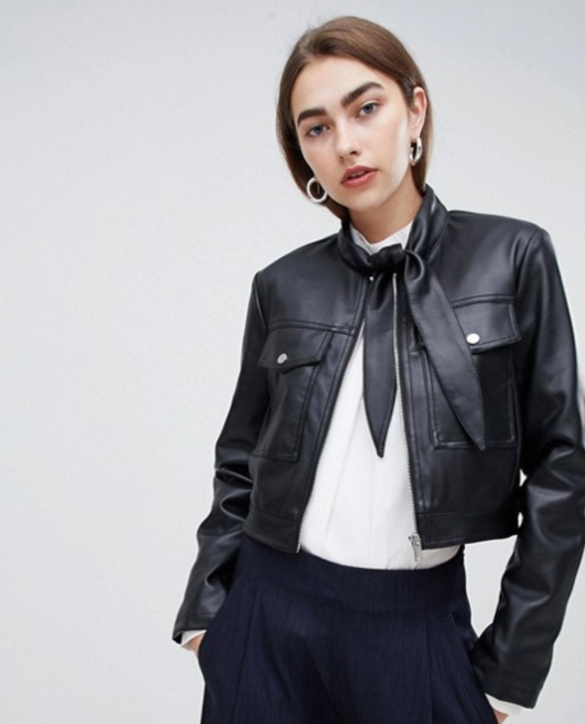 ASOS DESIGN Tie Neck Leather Look Jacket