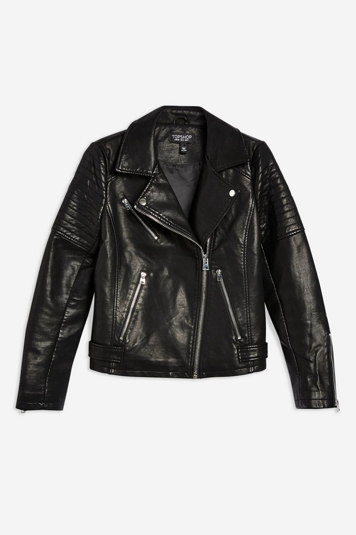 PETITE Black Polyurethane Biker Jacket