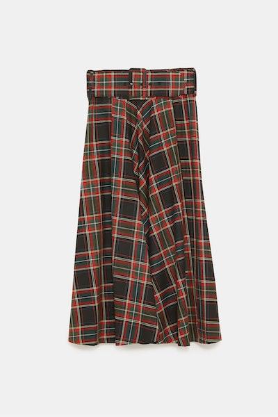 Plaid Midi Skirt