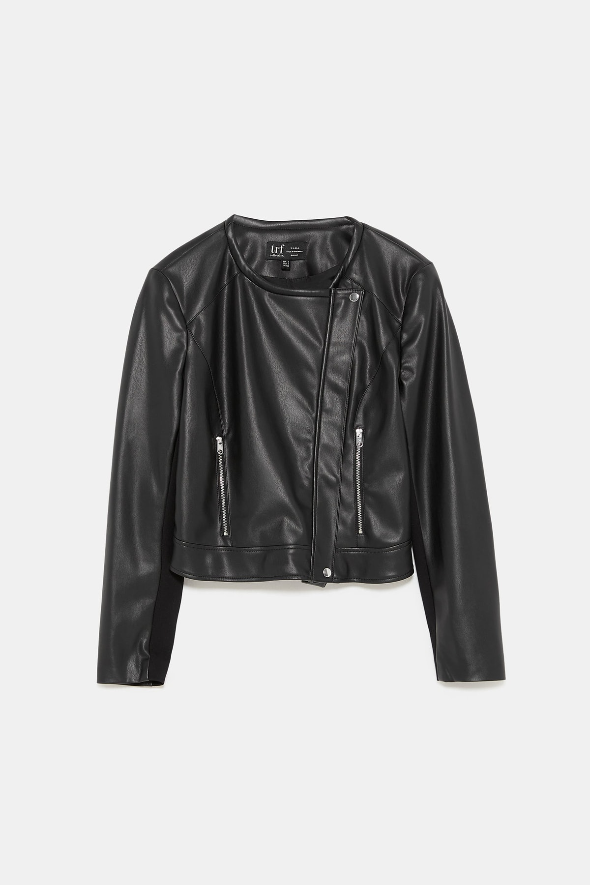 CONTRASTING FAUX LEATHER JACKET