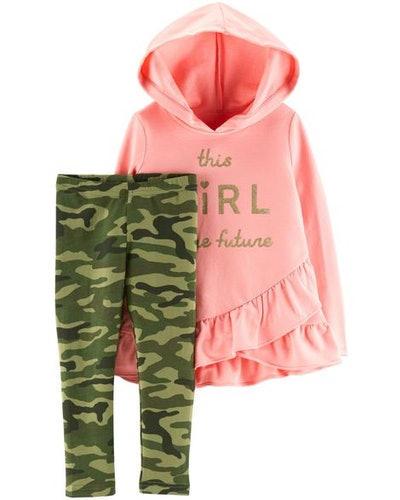 2-Piece French Terry Hoodie & Camo Legging Set