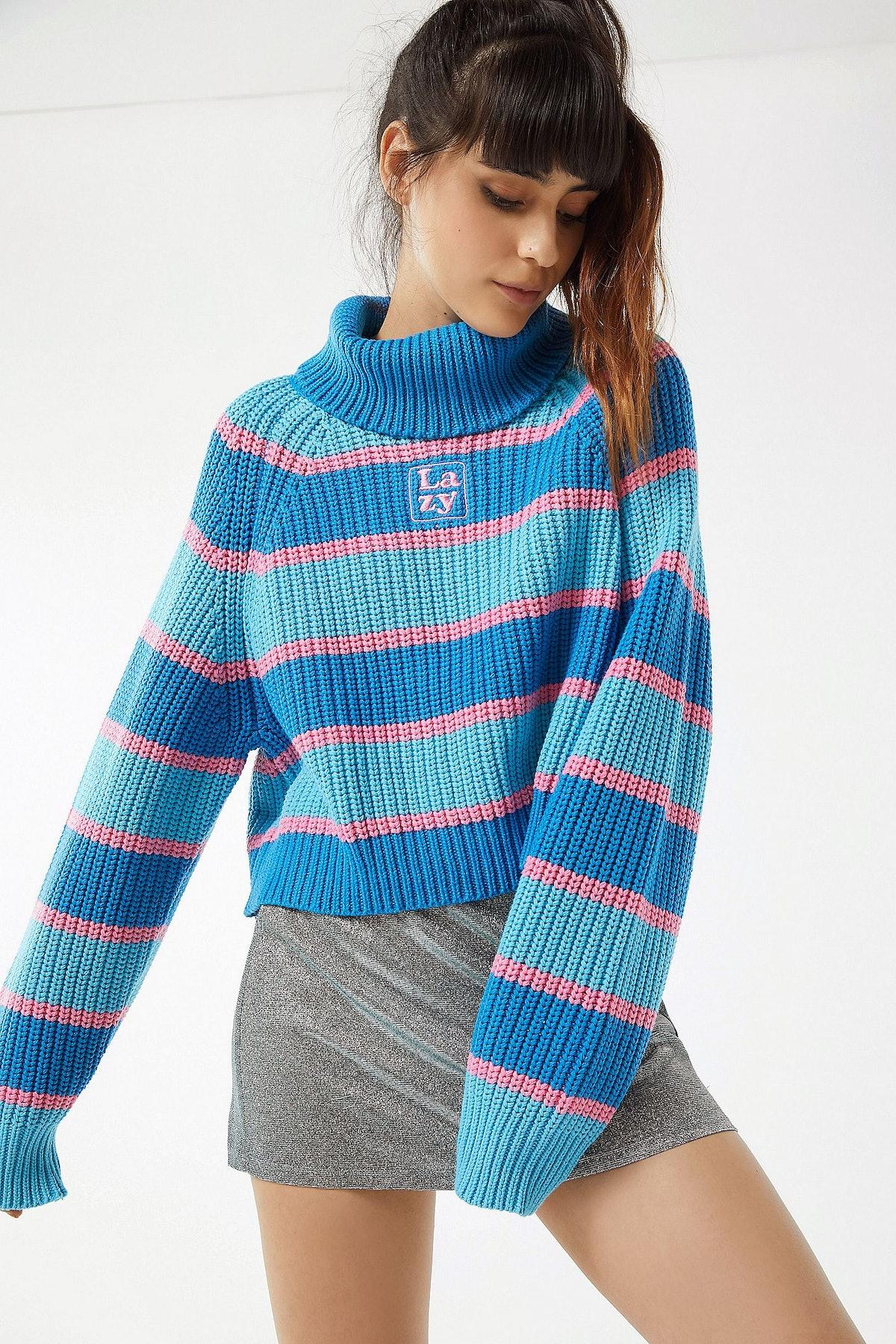 Lazy Oaf Striped Turtleneck Sweater
