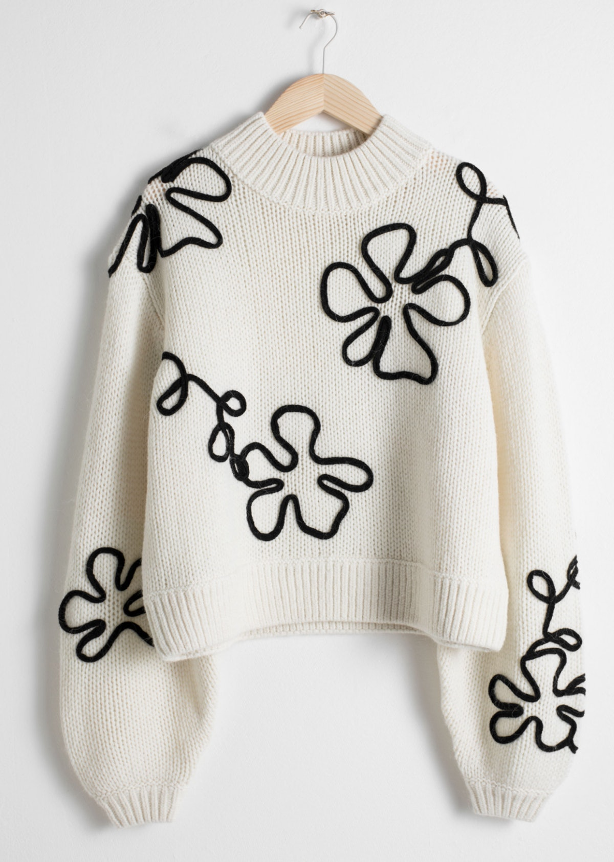 Wool Blend Floral Rope Sweater