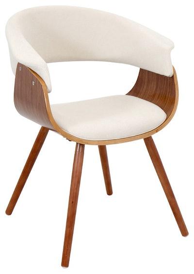 Pamela Padded Chair, Walnut and Cream