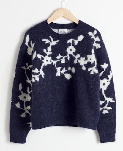 Wool Blend Vine Knit Sweater