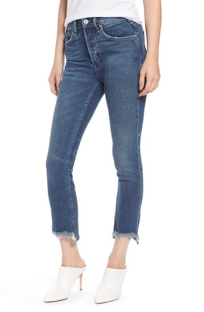 Valetta High Waist Crop Straight Leg Jeans In Way Up North