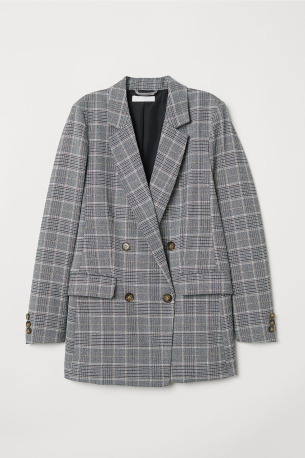 Double-Breasted Jacket in Gray/Checked