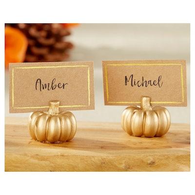 Kate Aspen Gold Pumpkin Place Card Holder