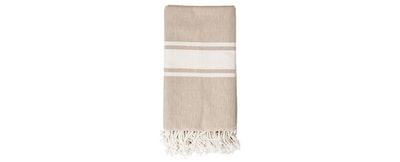 Cotton Throw Blanket - Beige with Ivory Stripes — 3R Studios