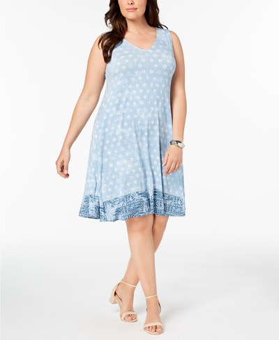 Style & Co Plus Size Printed Cross-Back Swing Dress