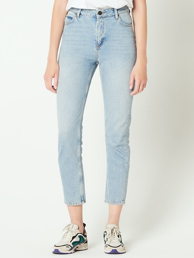 High-Waisted Washed Jeans