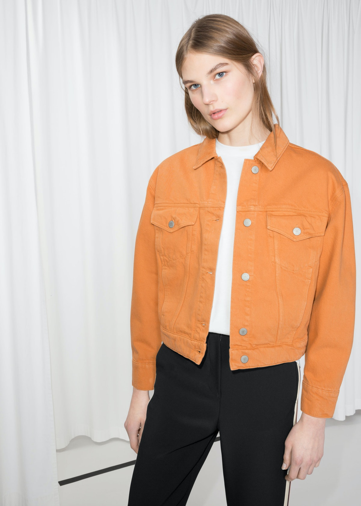 Cropped Denim Jacket in Yellow