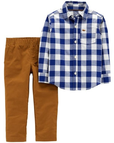 2-Piece Gingham Button-Front & Canvas Pant Set