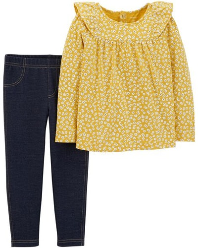 2-Piece Floral Ruffle Top & Jegging Set