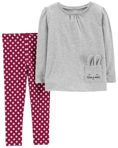 2-Piece Jersey Top & Polka Dot Legging Set