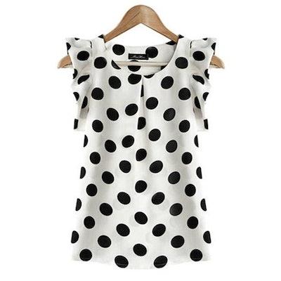 EFINNY Chiffon Polka Dot Ruffle Sleeve Office Shirt
