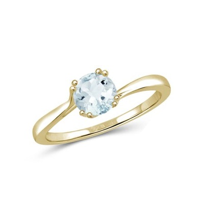 JewelersClub 0.45 Carat Aquamarine Gemstone Gold over Sterling Silver Ring